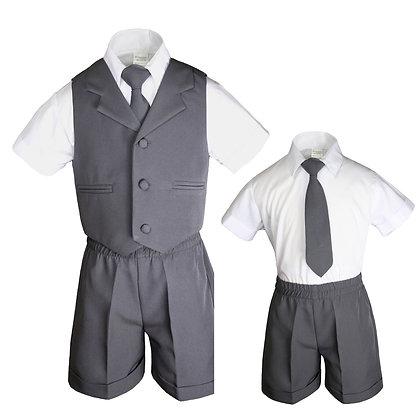 BT222 Dark Gray Boys Vest Shorts Sets S-4T
