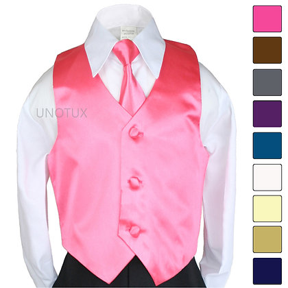 2 pc Satin Vest and Long Tie Set (Size S-7)