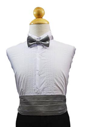 2 pc (Silver Satin Bow Tie and Cummerbund)