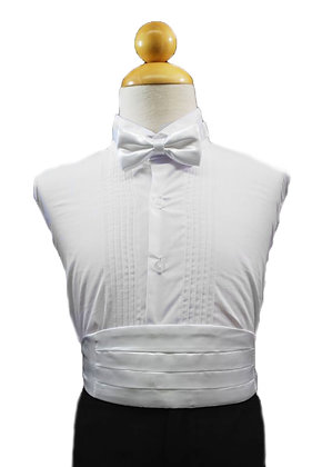 2 pc (White Satin Bow Tie and Cummerbund)