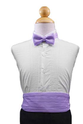 2 pc (Lilac Satin Bow Tie and Cummerbund)