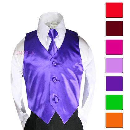 2 pc Satin Vest and Long Tie Set (Size S-7)
