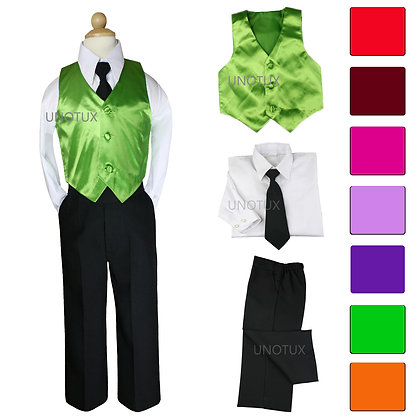4pc Boy Satin Vest Set with Black Tie 8-20