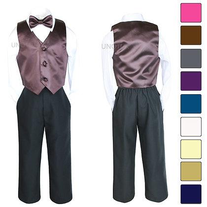 4 pc Boy Satin Vest and Bow Tie Set 8-20