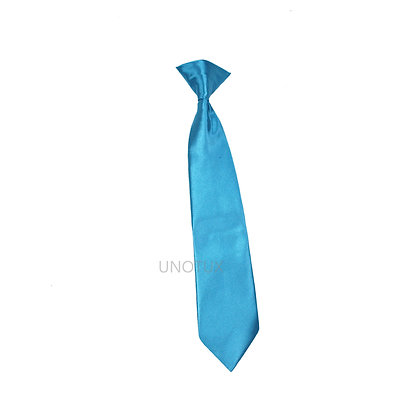 Turquoise Satin Clip-on Long Necktie (S-20)