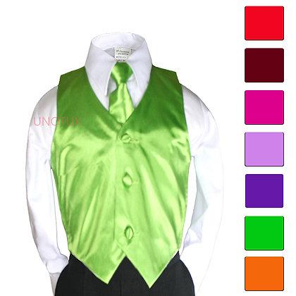 2 pc Satin Vest and Long Tie Set (Size 8-20)