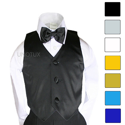 2 pc Satin Vest and Bow Tie Set (Size 8-14)