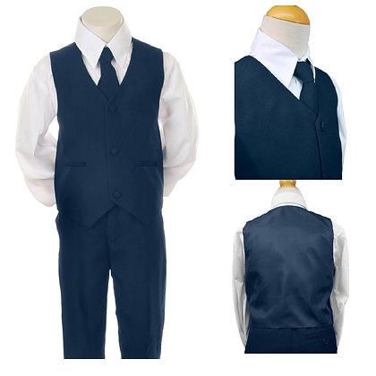 BY001 Boys 4 PCS Navy Vest Set Suit