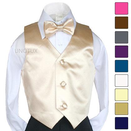 2 pc Satin Vest and Bow Tie Set (Size S-7)