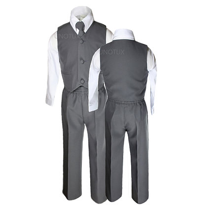 Boys 4 PCS Dark Gray Vest Set Suit