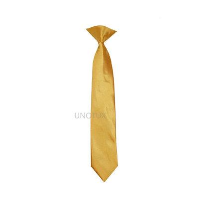 Yellow Satin Clip-on Long Necktie (S-20)