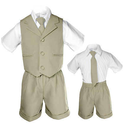 BT222 Khaki Boys Vest Shorts Sets S-4T