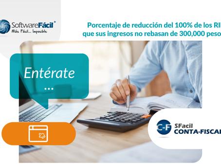 Porcentaje de reducción del 100% de los RIF que sus ingresos no rebasan de 300,000 pesos