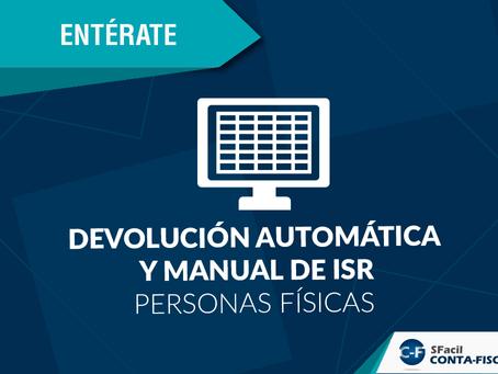 Devolución automática y manual de ISR personas físicas