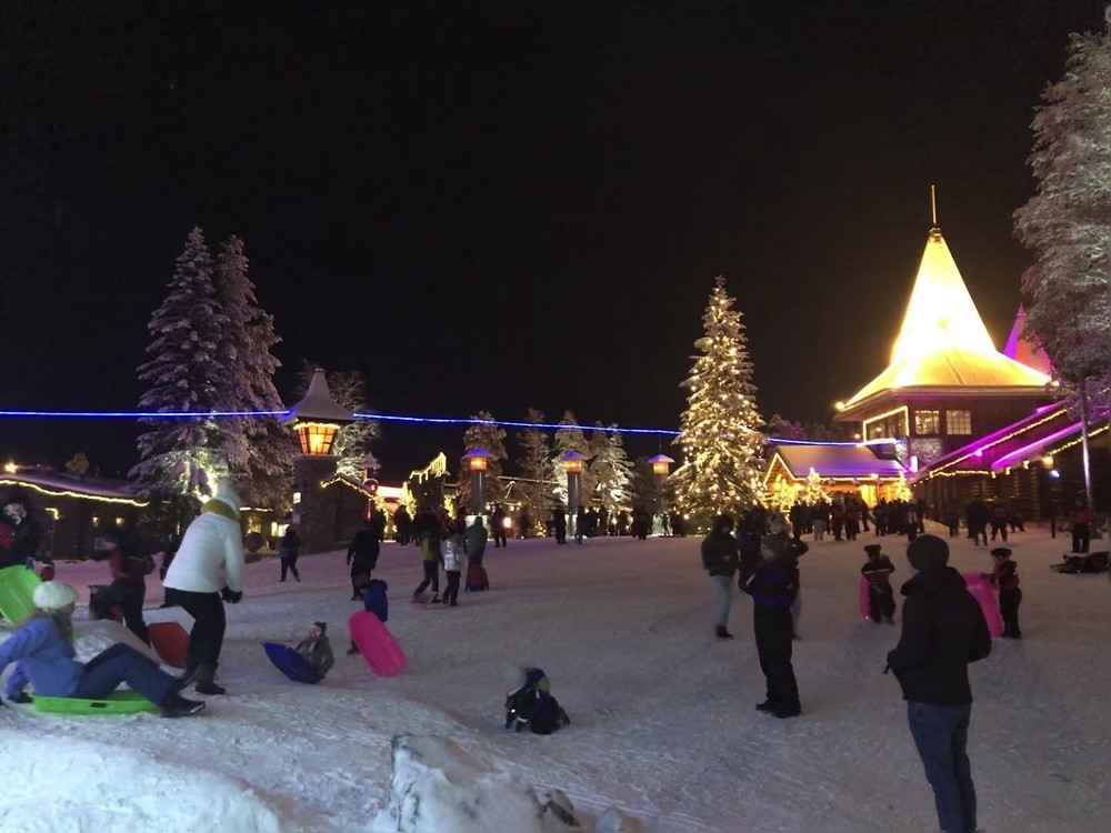 Main Village Square. The blue line marks out exactly where the Arctic Circle is.