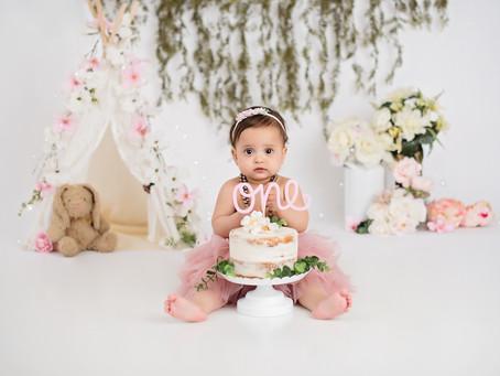 Boho Cake Smash Photo Session / Baby Luna / Indianapolis