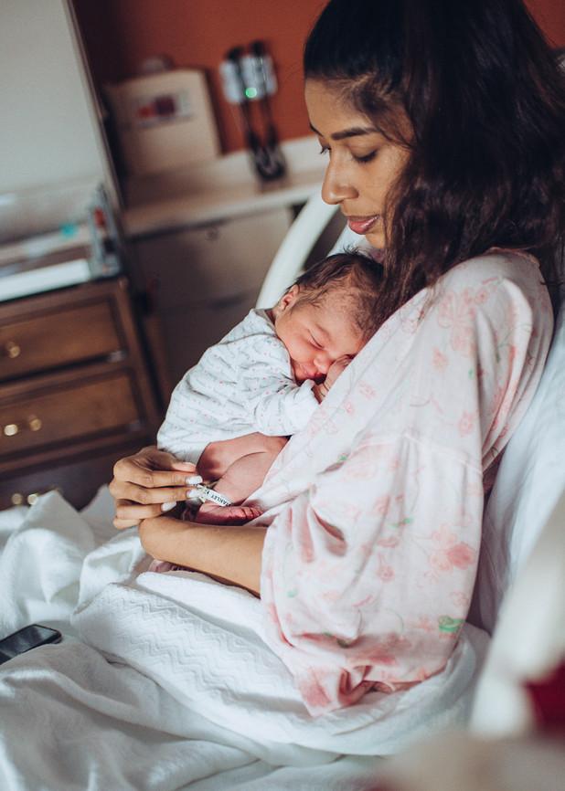 new mom and newborn baby hospital fresh