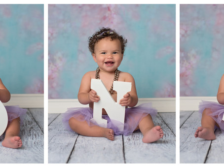 Emerson's First Birthday Cake Smash Portrait Session Indianapolis IN