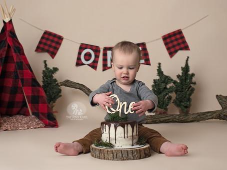Lumberjack Theme Cake Smash Indiana Photographer