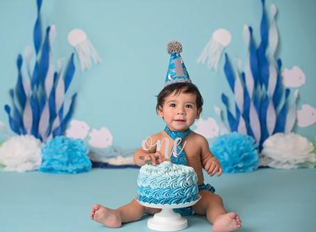 """""""Baby Shark"""" custom cake smash Indianapolis studio photo session"""