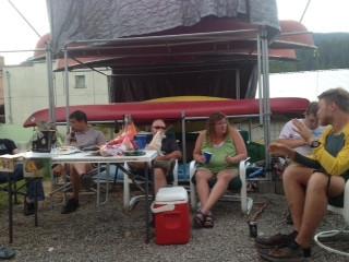 Hiker gathering in Metaline Falls