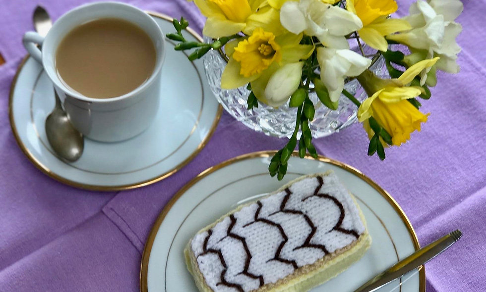 Iced Custard Tart Slice Play Food Knitting Pattern