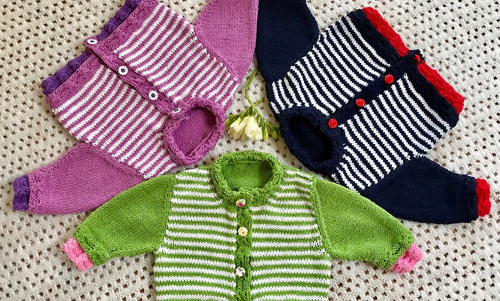 Kensington Baby Cardigan. A Knitting Pattern for age 3-6 Months