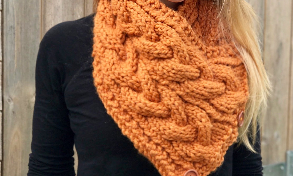 Eirene Neck Warmer/Buttoned Scarf Knitting Pattern