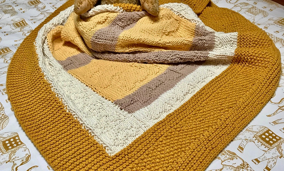 Bears and Bows Baby Blanket (Afghan) Knitting Pattern
