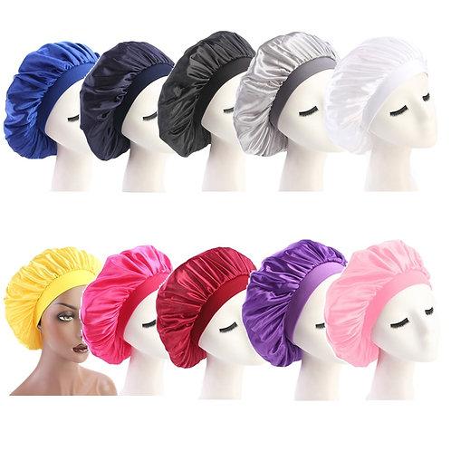 58cm Adjust Solid Satin Bonnet Hair Styling Cap