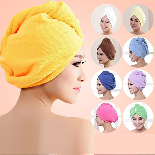 Women Super Absorbent Quick-Drying Thicker Microfiber Bath Towel Hair Cap