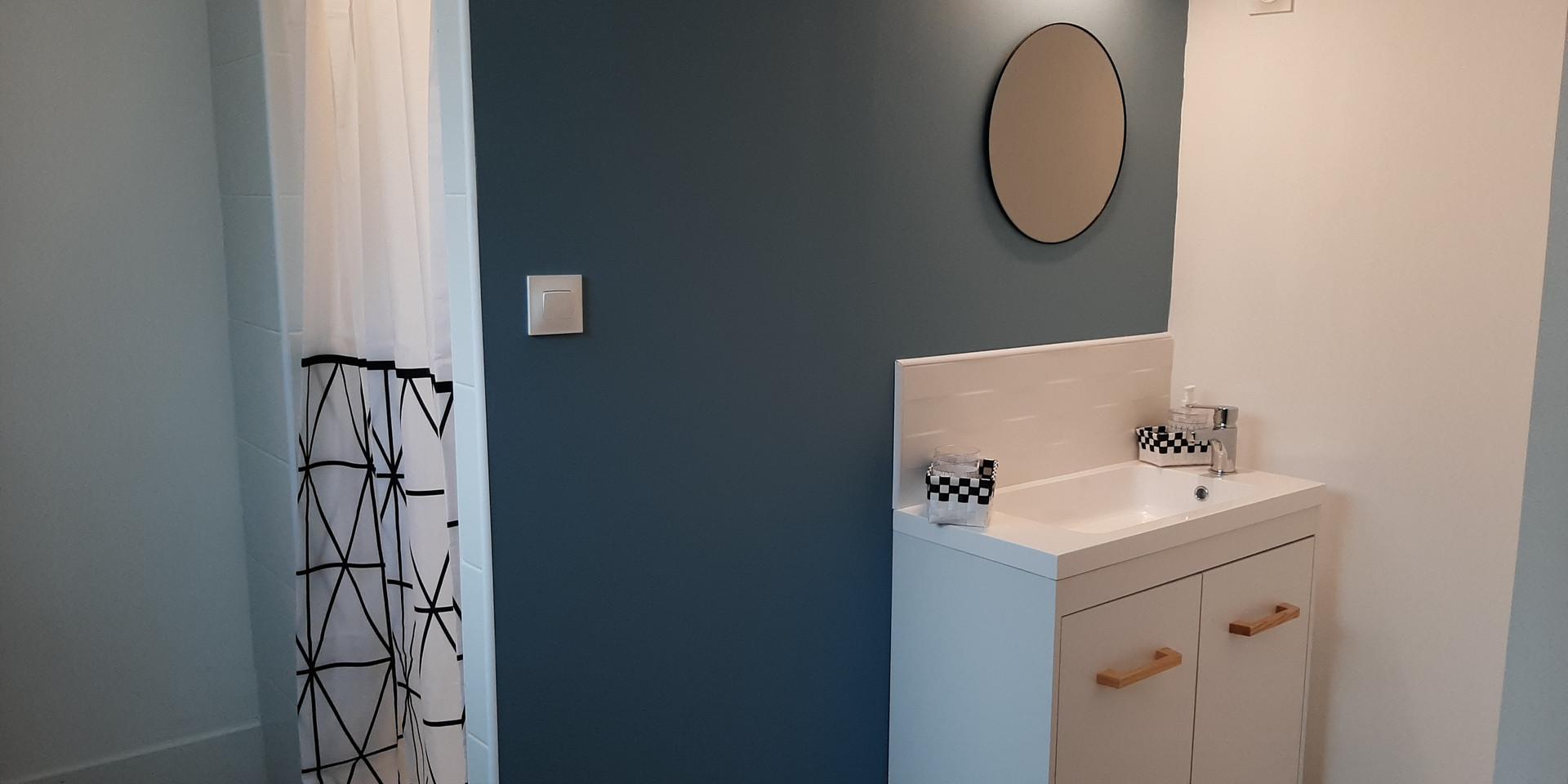 Douche, lavabo et  toilette de l'étage