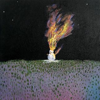 Snowman's Dream, 2020 Acrylic on Wood 8 × 8 × 1 12 in 20.3 × 20.3 × 3.8 cm_$900.jpg