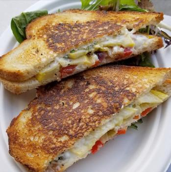 Veggie Panini with goat cheese and herbed mayo