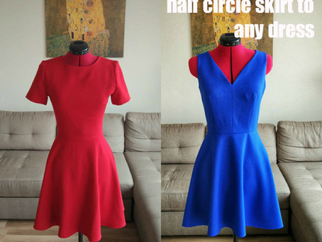HOW TO SEW: half circle skirt to any dress
