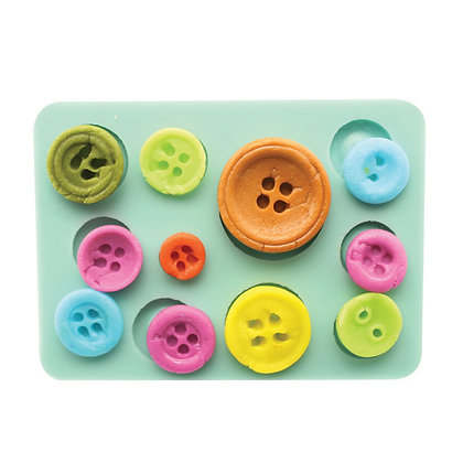 O'Creme Silicone Fondant Button Mold, 11 cavities