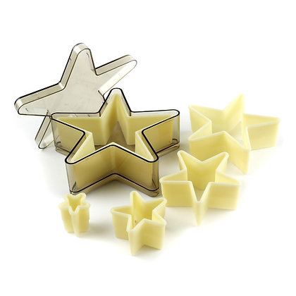 O'Creme Heat-Resistant Cutters, Five-Point Star, 5-Piece Set