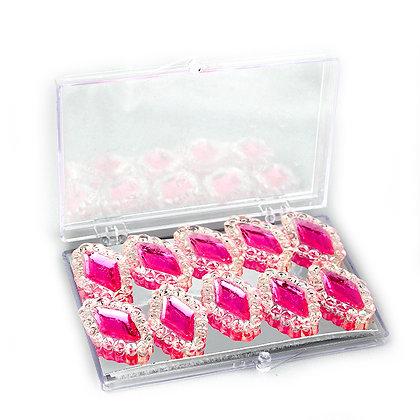 O'Crème Edible Diamond-Framed Rhombus Gems, 10 Pieces Pink