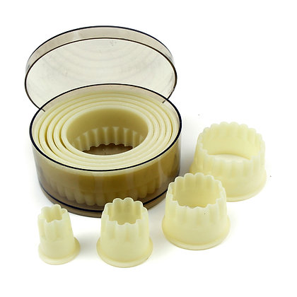 O'Creme Heat Resistant Cutters, Fluted Round, 9-Piece Set