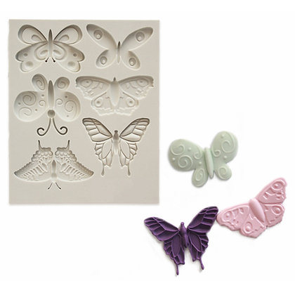 O'Creme Silicone Butterfly Fondant Mold, 6 cavities