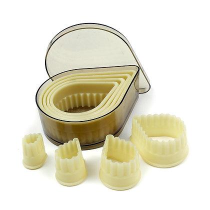 O'Creme Heat Resistant Cutters, Fluted Teardrop, 8-Piece Set