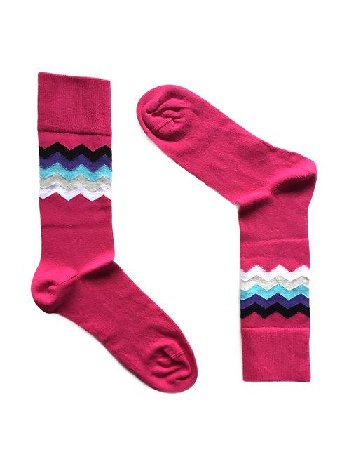Pink Zigzag Pattern Sox