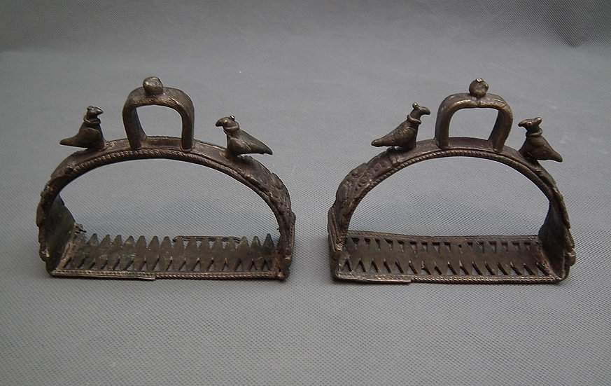 Pair Of Antique Islamic Mughal Indian Bronze Stirrups India 15th-17th century