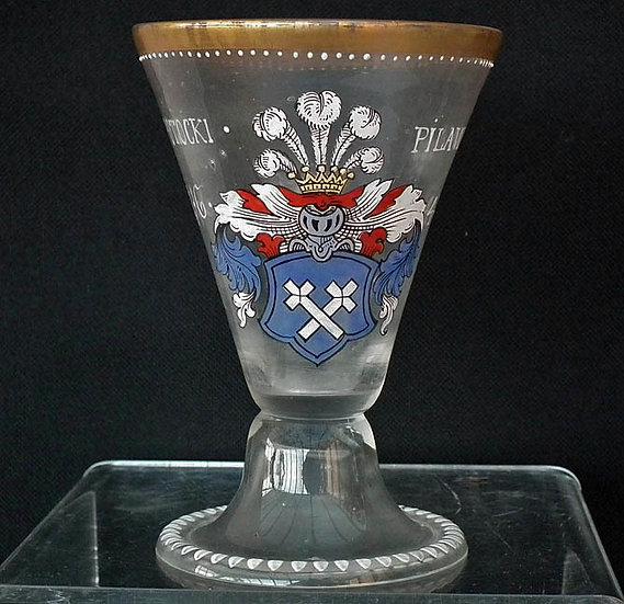 Antique Armorial Glass Goblet Polish Noble Family Potocki Coat-Of-Arms Pilawa Po