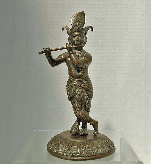 Antique 18th -19th c South East Asian Bronze figure Of Hindu God Lord Krishna
