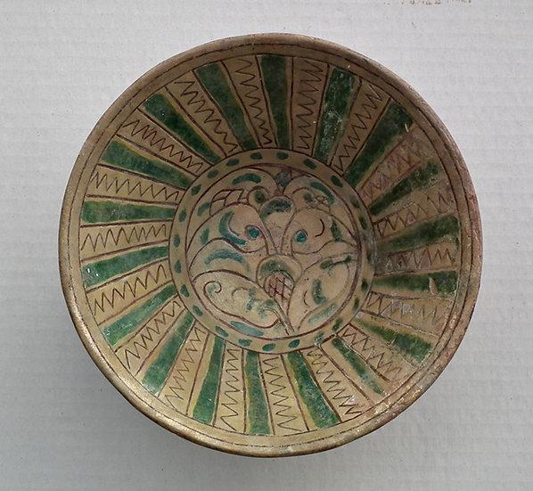 Antique Islamic Medieval 11th–13th c Khwarezmid Bamiyan Sgraffito Ceramic Bowl