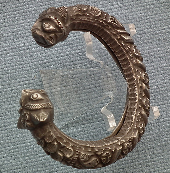 Antique 10th-15th c Islamic Silver Bracelet With Lion's Head Terminals