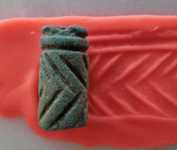 Ancient Near Eastern 13th-12th century B.C. Ceramic Cylinder Seal
