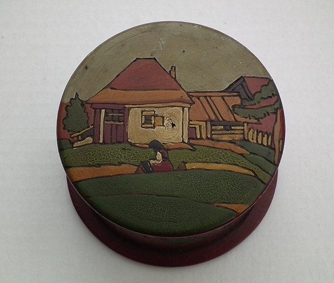 Antique Russian Kustar Pyrogravure & Painted Wood Tobacco Box