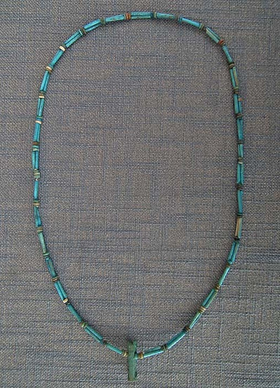 Ancient Egyptian Blue Faience Necklace With God Anubis Amulet 1550-332 B.C.